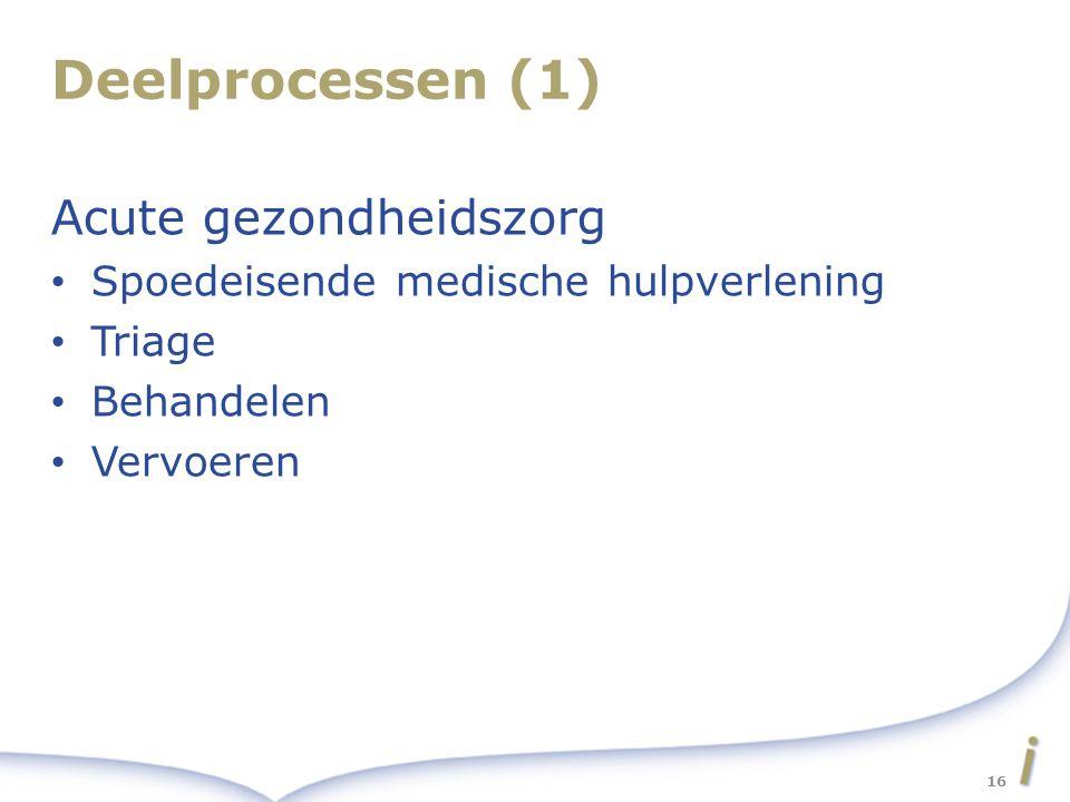 Deelprocessen (1) Acute gezondheidszorg