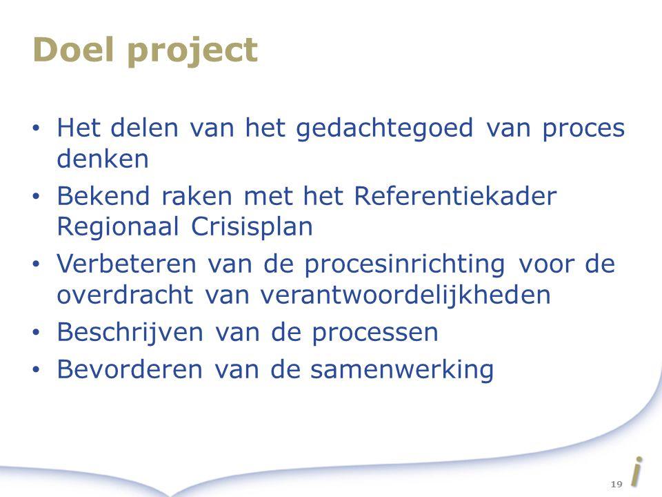 Doel project Het delen van het gedachtegoed van proces denken