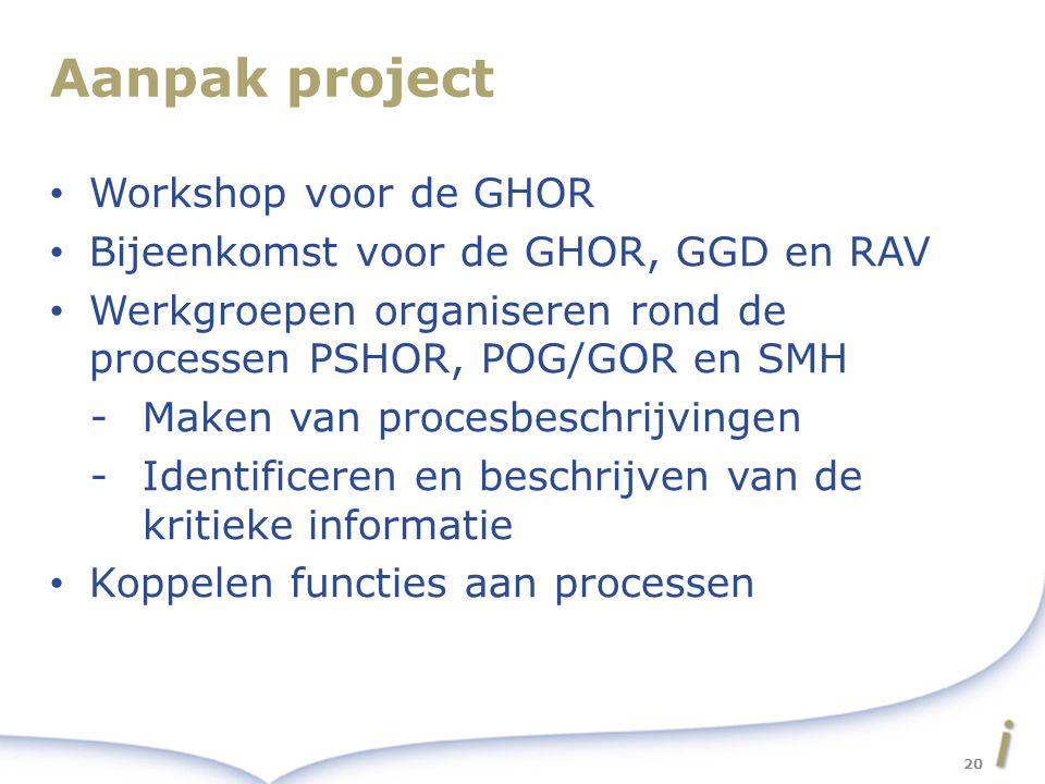 Aanpak project Workshop voor de GHOR