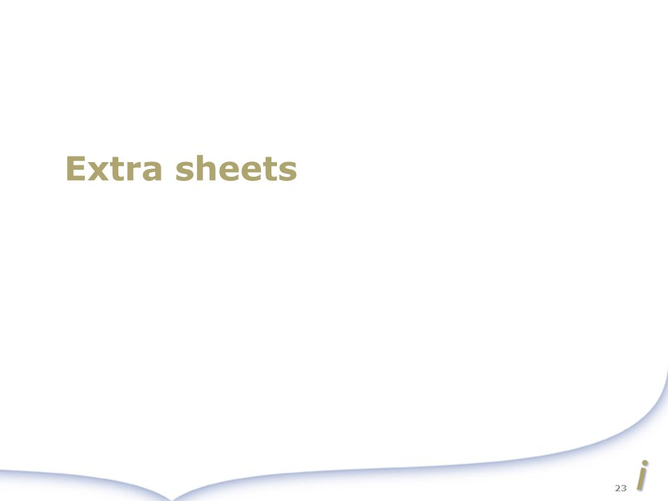 Extra sheets