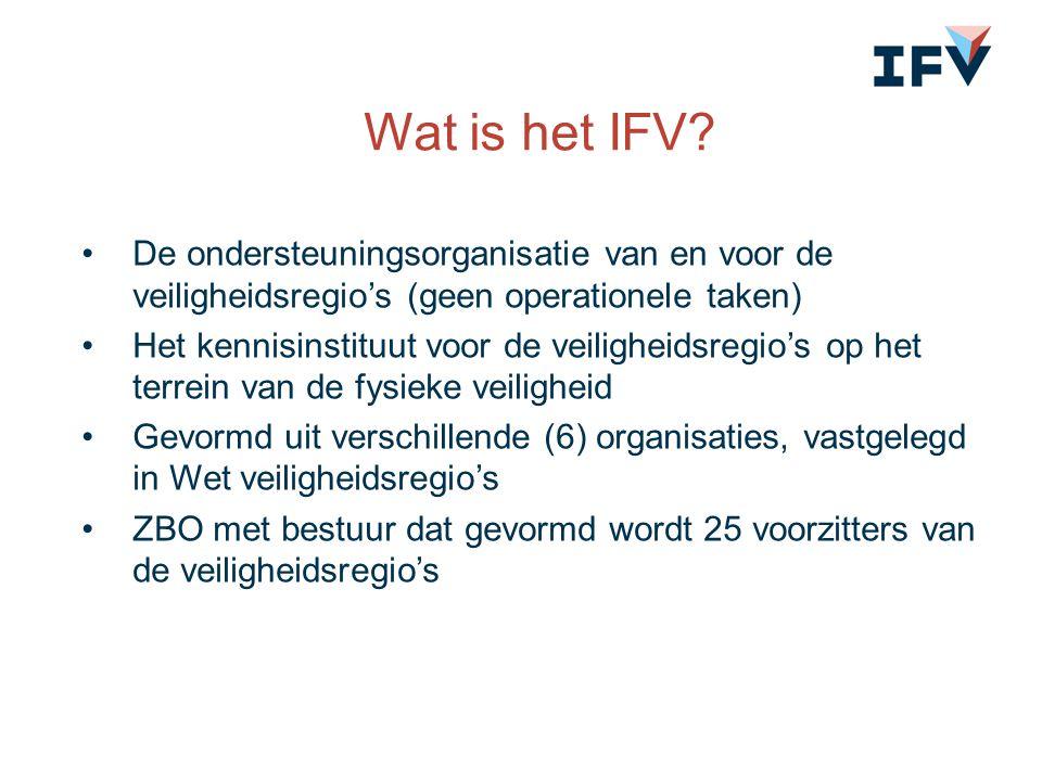 Wat is het IFV De ondersteuningsorganisatie van en voor de veiligheidsregio's (geen operationele taken)
