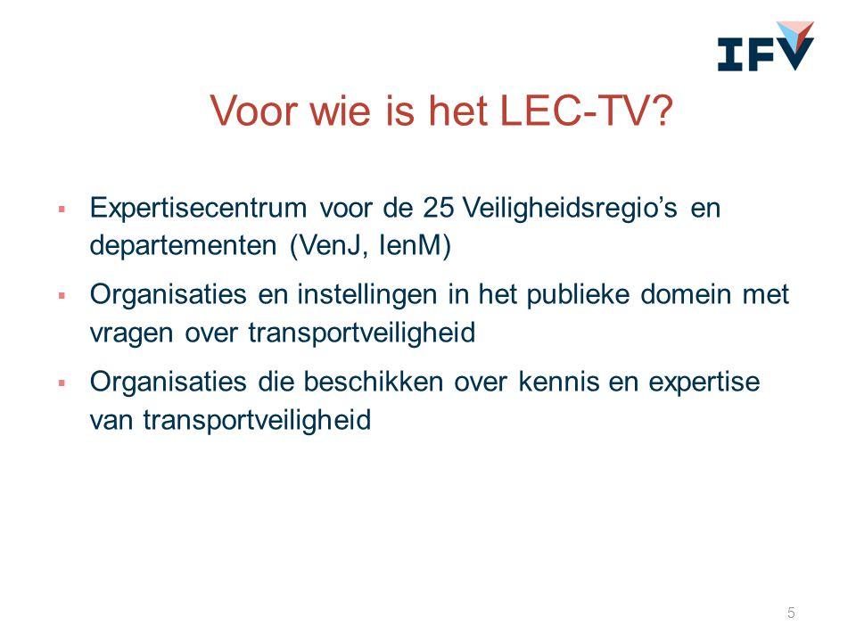 Voor wie is het LEC-TV Expertisecentrum voor de 25 Veiligheidsregio's en departementen (VenJ, IenM)