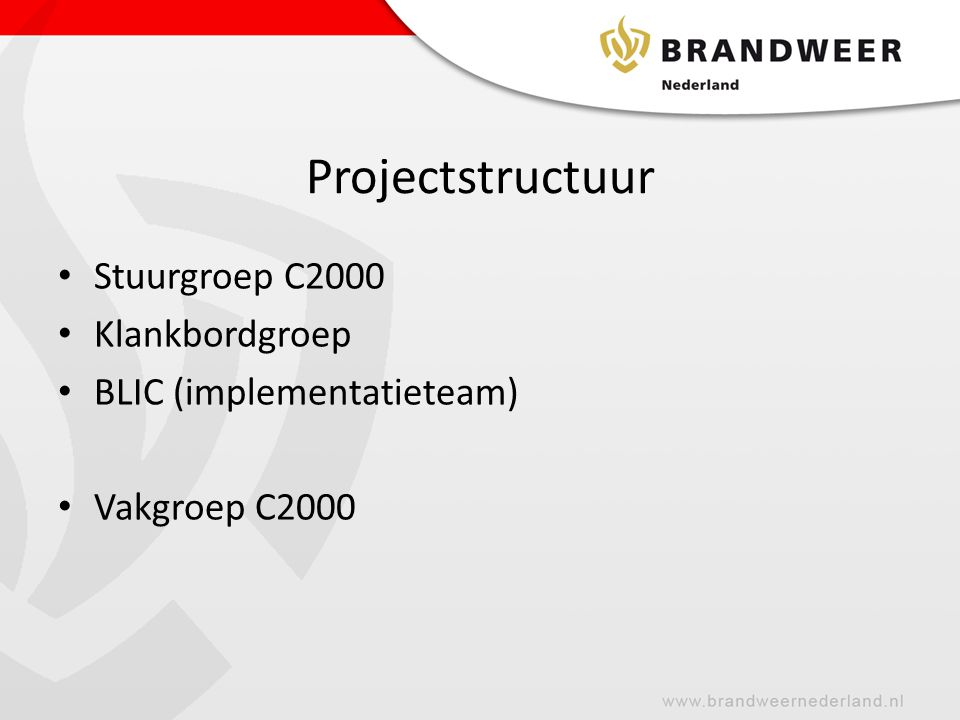 Projectstructuur Stuurgroep C2000 Klankbordgroep
