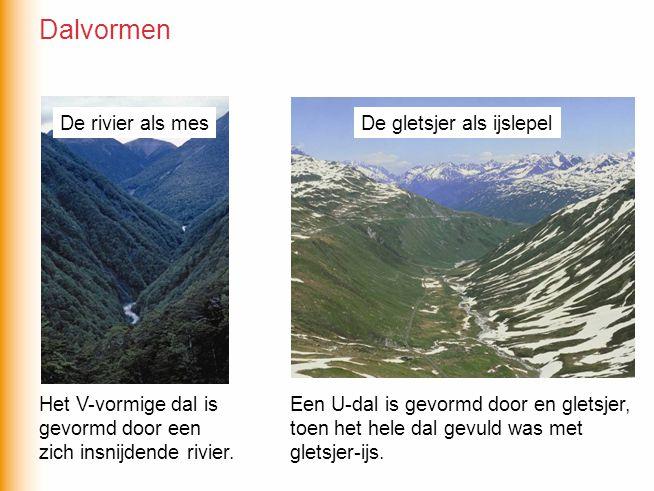 Dalvormen De rivier als mes De gletsjer als ijslepel