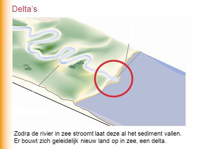 Delta's Zodra de rivier in zee stroomt laat deze al het sediment vallen.
