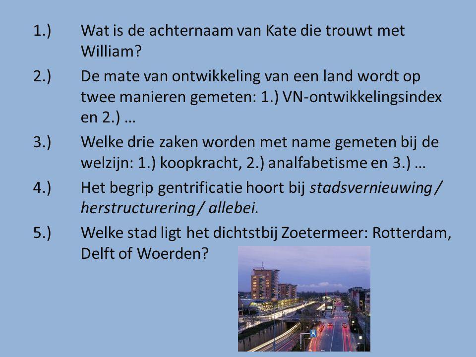 1.) Wat is de achternaam van Kate die trouwt met William