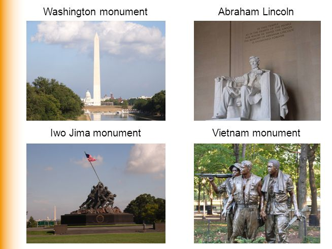 Washington monument Abraham Lincoln Iwo Jima monument Vietnam monument