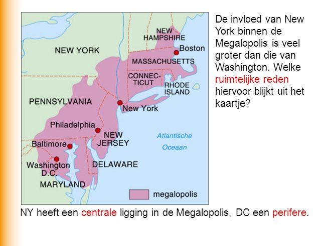De invloed van New York binnen de Megalopolis is veel groter dan die van Washington. Welke ruimtelijke reden hiervoor blijkt uit het kaartje