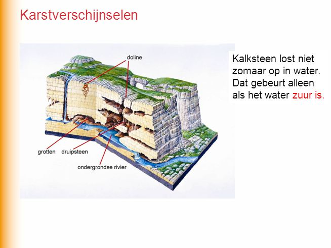 Karstverschijnselen Kalksteen lost niet zomaar op in water.