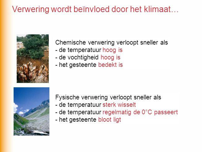 Verwering wordt beïnvloed door het klimaat…