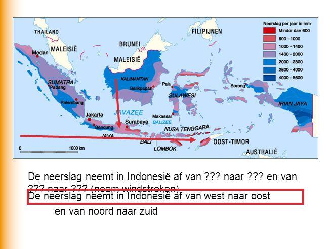De neerslag neemt in Indonesië af van. naar. en van. naar