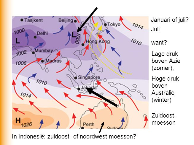 Januari of juli Juli. want Lage druk boven Azië (zomer), Hoge druk boven Australië (winter) Zuidoost-moesson.