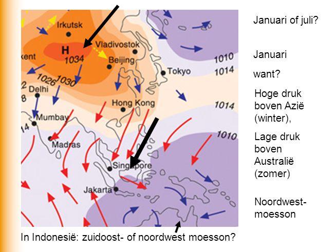 Januari of juli Januari. want Hoge druk boven Azië (winter), Lage druk boven Australië (zomer)