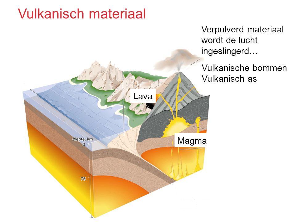 Vulkanisch materiaal Verpulverd materiaal wordt de lucht ingeslingerd…