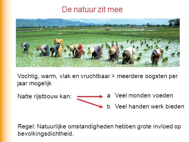 De natuur zit mee Vochtig, warm, vlak en vruchtbaar > meerdere oogsten per jaar mogelijk. Natte rijstbouw kan: