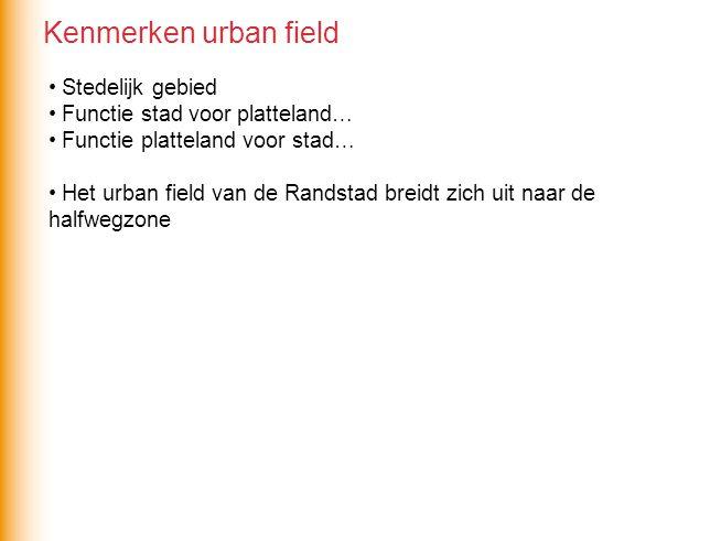 Kenmerken urban field Stedelijk gebied Functie stad voor platteland…