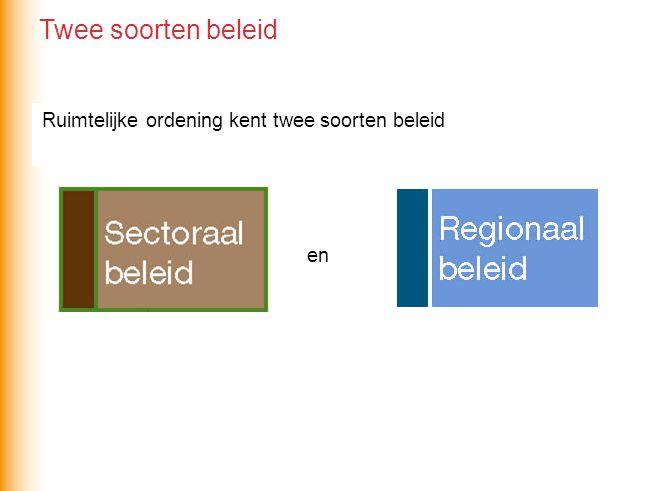 Twee soorten beleid Ruimtelijke ordening kent twee soorten beleid en
