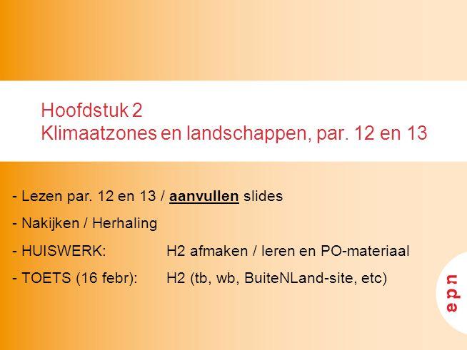 Hoofdstuk 2 Klimaatzones en landschappen, par. 12 en 13