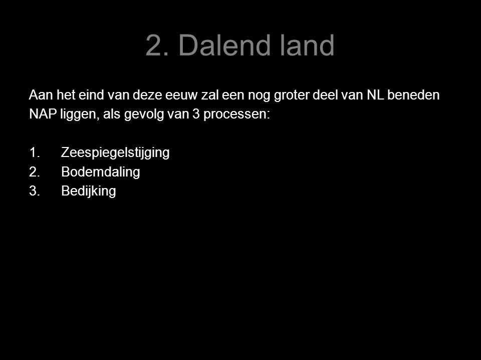 2. Dalend land Aan het eind van deze eeuw zal een nog groter deel van NL beneden. NAP liggen, als gevolg van 3 processen: