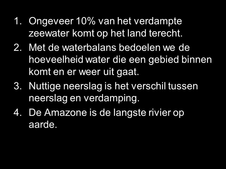 Ongeveer 10% van het verdampte zeewater komt op het land terecht.