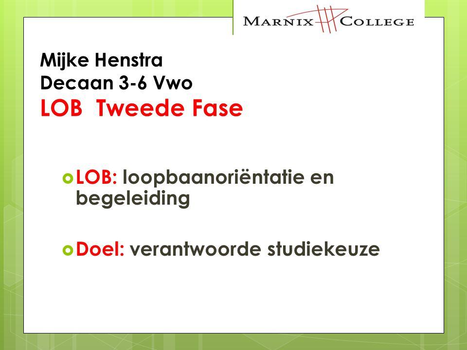 Mijke Henstra Decaan 3-6 Vwo LOB Tweede Fase