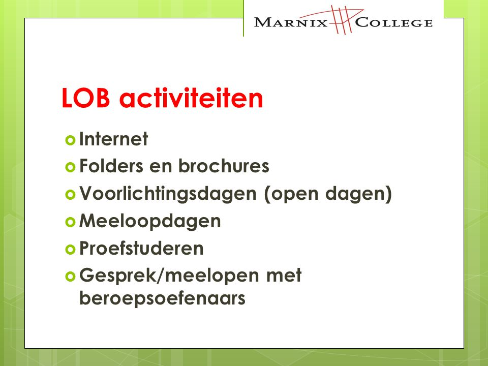 LOB activiteiten Internet Folders en brochures