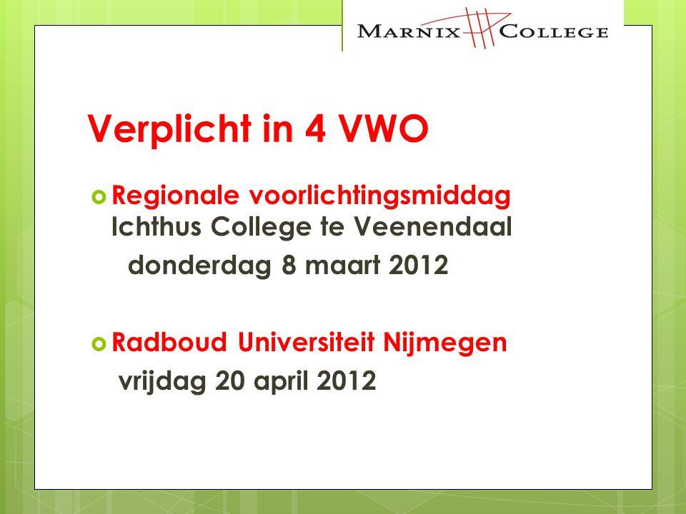 Verplicht in 4 VWO Regionale voorlichtingsmiddag Ichthus College te Veenendaal. donderdag 8 maart 2012.
