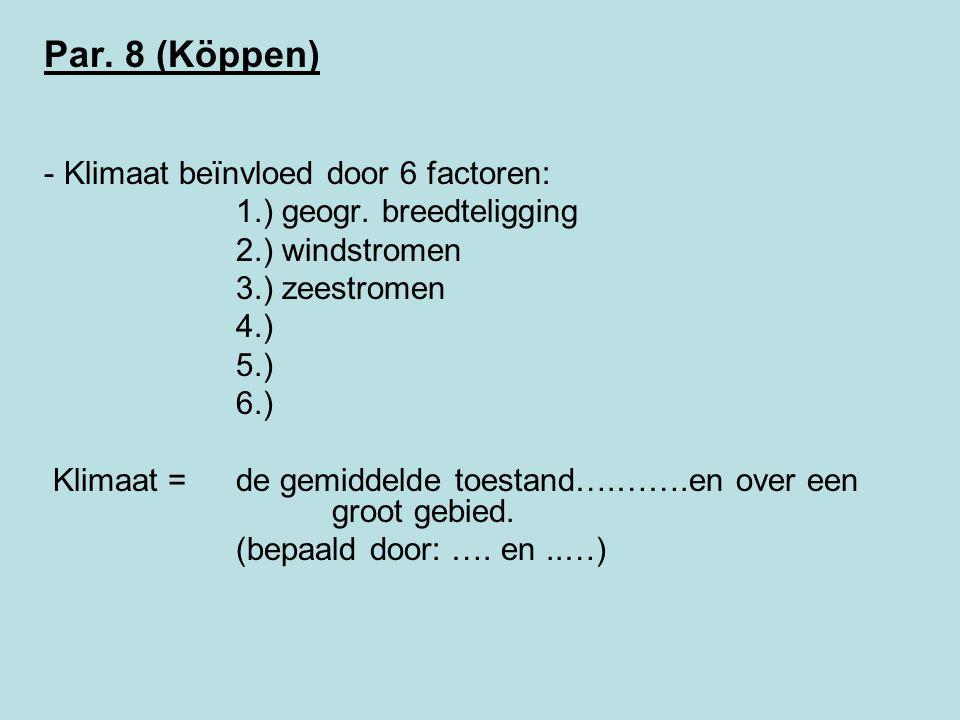 Par. 8 (Köppen) Klimaat beïnvloed door 6 factoren: