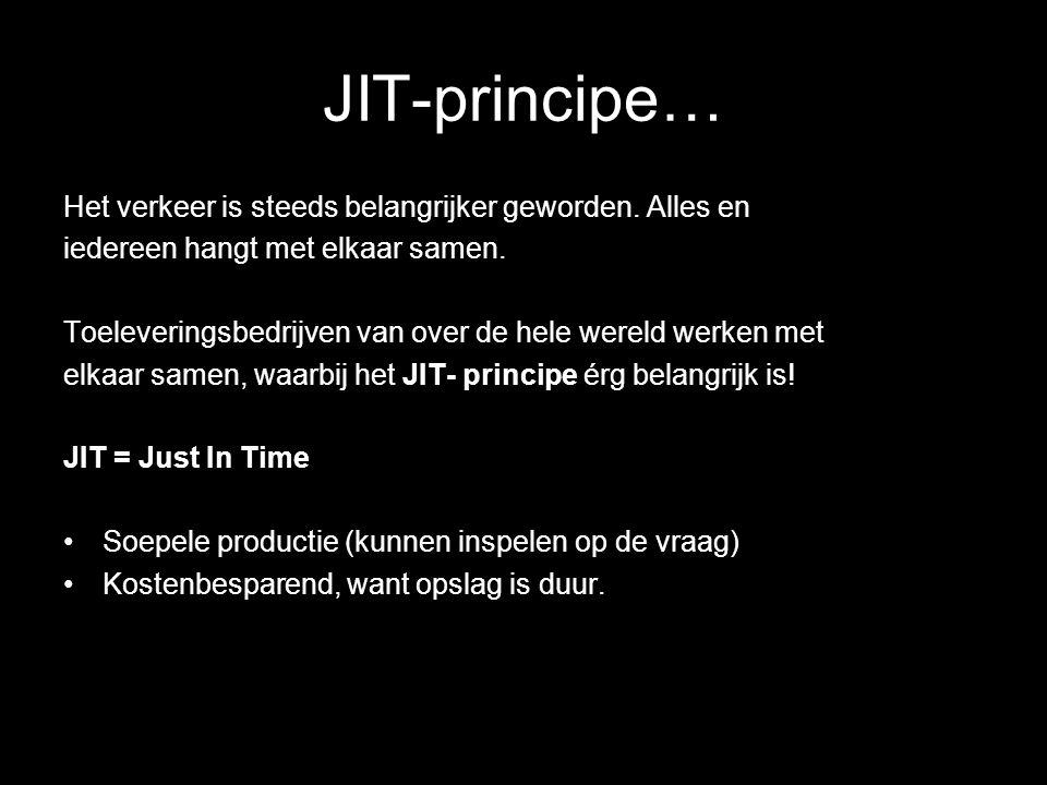 JIT-principe… Het verkeer is steeds belangrijker geworden. Alles en