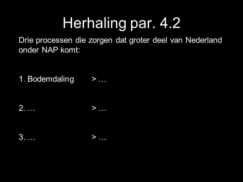 Herhaling par. 4.2 Drie processen die zorgen dat groter deel van Nederland onder NAP komt: 1. Bodemdaling > …