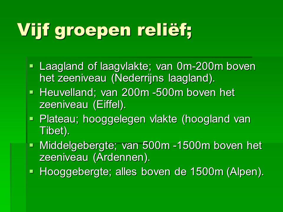 Vijf groepen reliëf; Laagland of laagvlakte; van 0m-200m boven het zeeniveau (Nederrijns laagland).