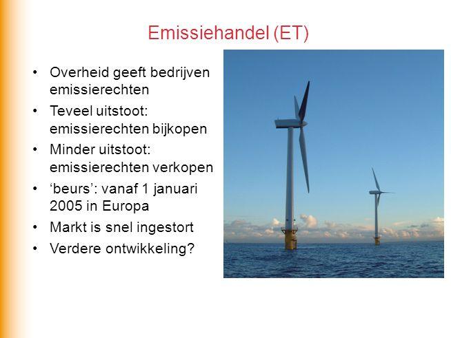 Emissiehandel (ET) Overheid geeft bedrijven emissierechten
