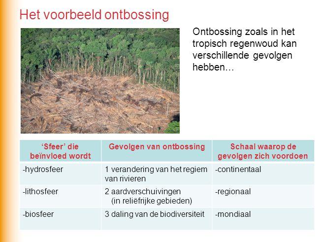 Gevolgen van ontbossing Schaal waarop de gevolgen zich voordoen