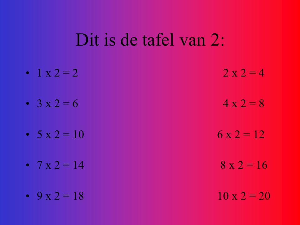 Dit is de tafel van 2: 1 x 2 = 2 2 x 2 = 4 3 x 2 = 6 4 x 2 = 8