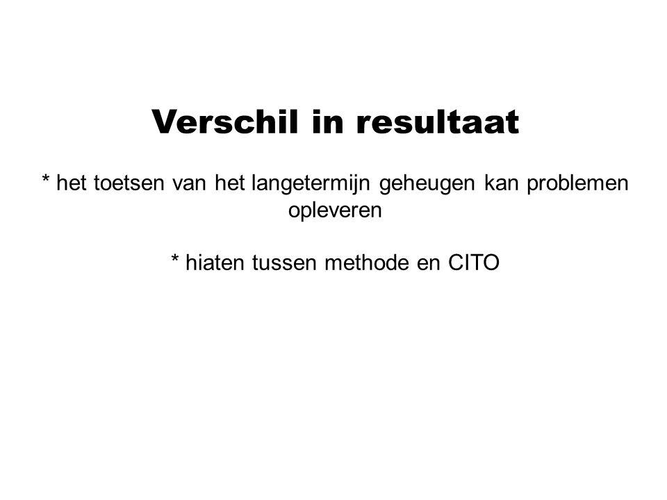 Verschil in resultaat * het toetsen van het langetermijn geheugen kan problemen opleveren * hiaten tussen methode en CITO