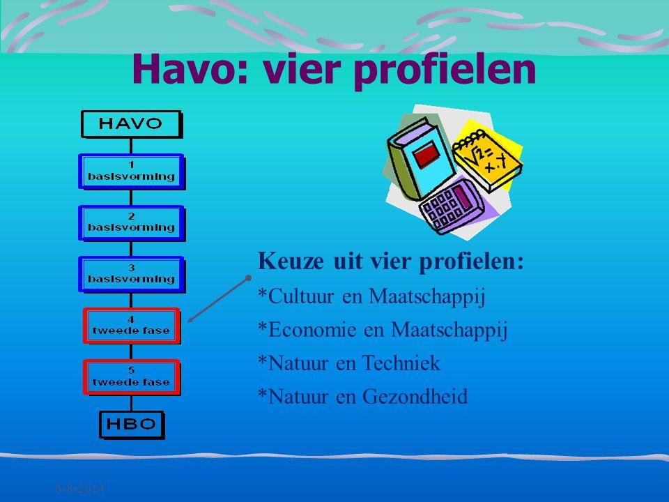 Havo: vier profielen Keuze uit vier profielen: Cultuur en Maatschappij