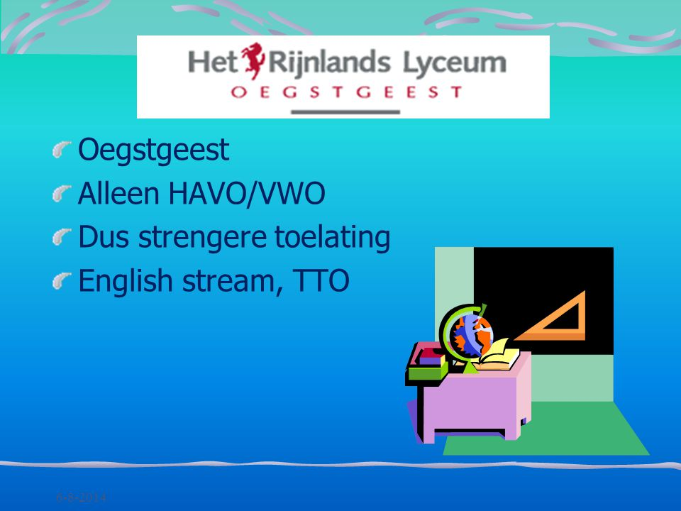 Dus strengere toelating English stream, TTO