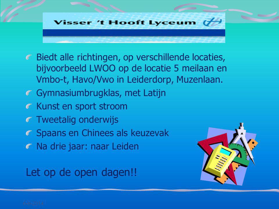 Biedt alle richtingen, op verschillende locaties, bijvoorbeeld LWOO op de locatie 5 meilaan en Vmbo-t, Havo/Vwo in Leiderdorp, Muzenlaan.