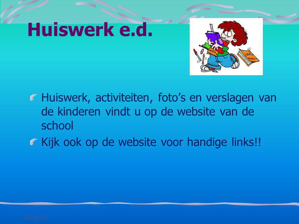 Huiswerk e.d. Huiswerk, activiteiten, foto's en verslagen van de kinderen vindt u op de website van de school.
