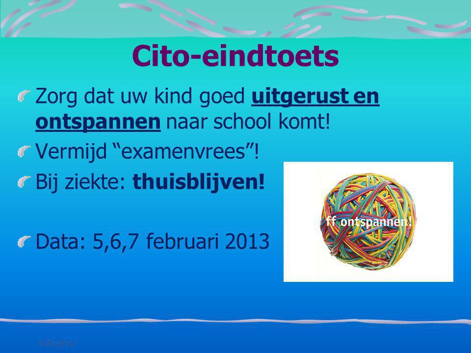 Cito-eindtoets Zorg dat uw kind goed uitgerust en ontspannen naar school komt! Vermijd examenvrees !