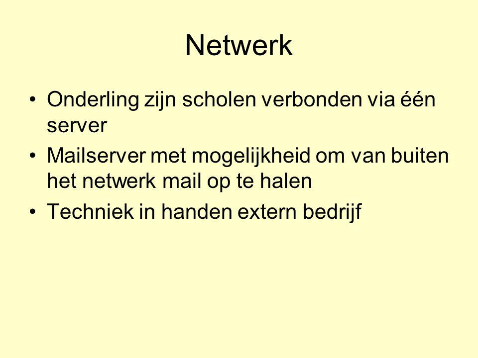 Netwerk Onderling zijn scholen verbonden via één server