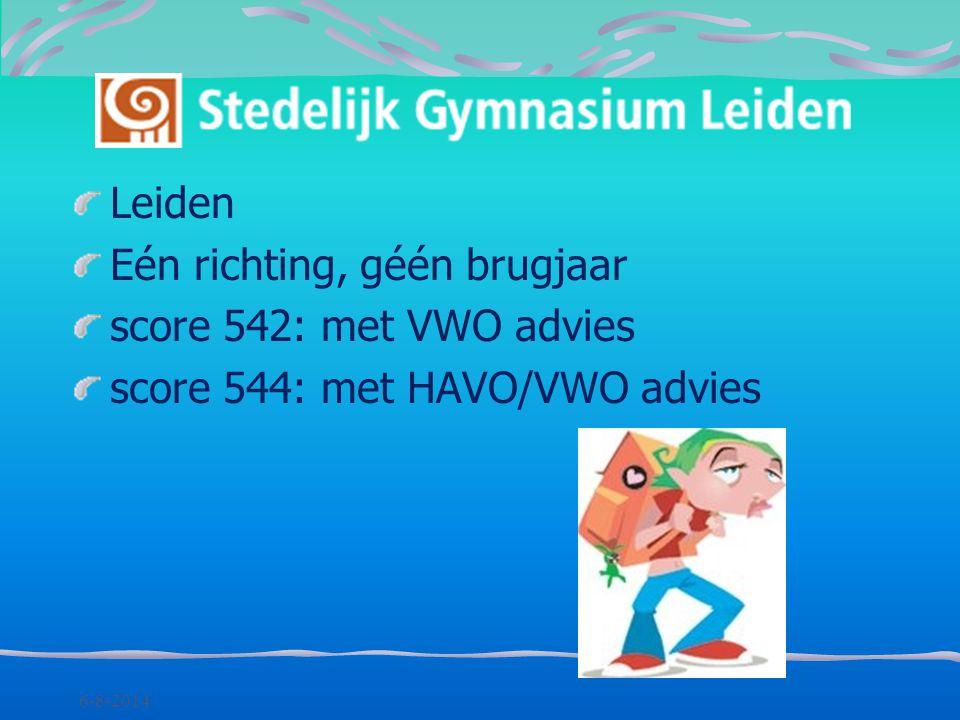 Eén richting, géén brugjaar score 542: met VWO advies