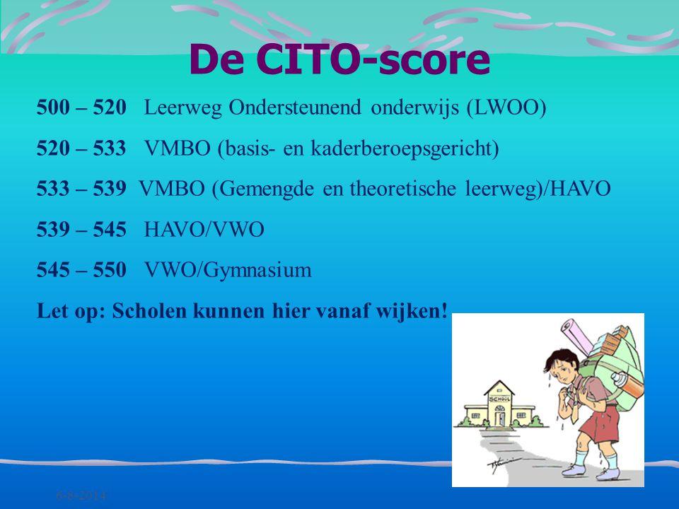 De CITO-score 500 – 520 Leerweg Ondersteunend onderwijs (LWOO)