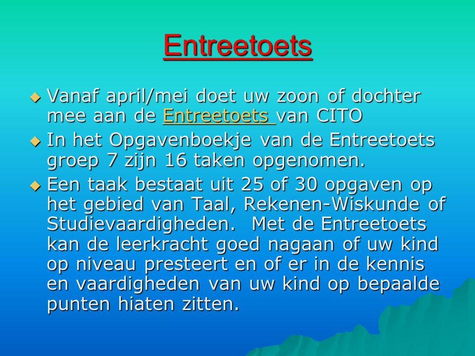 Entreetoets Vanaf april/mei doet uw zoon of dochter mee aan de Entreetoets van CITO.