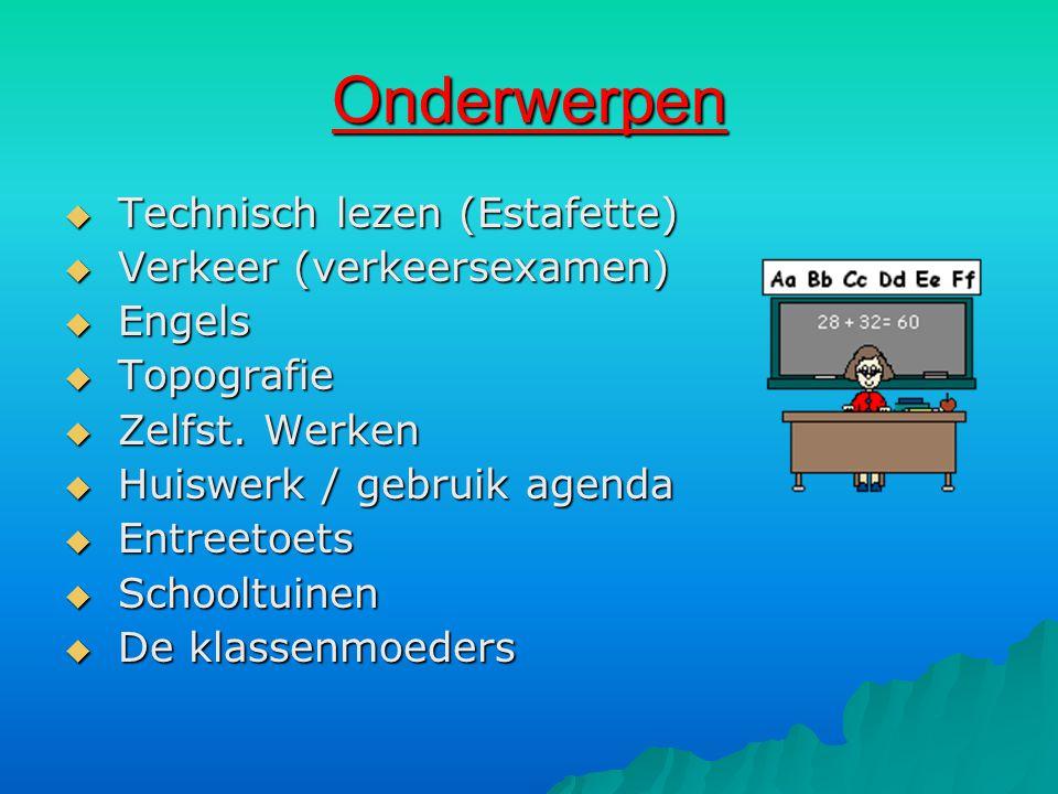 Onderwerpen Technisch lezen (Estafette) Verkeer (verkeersexamen)