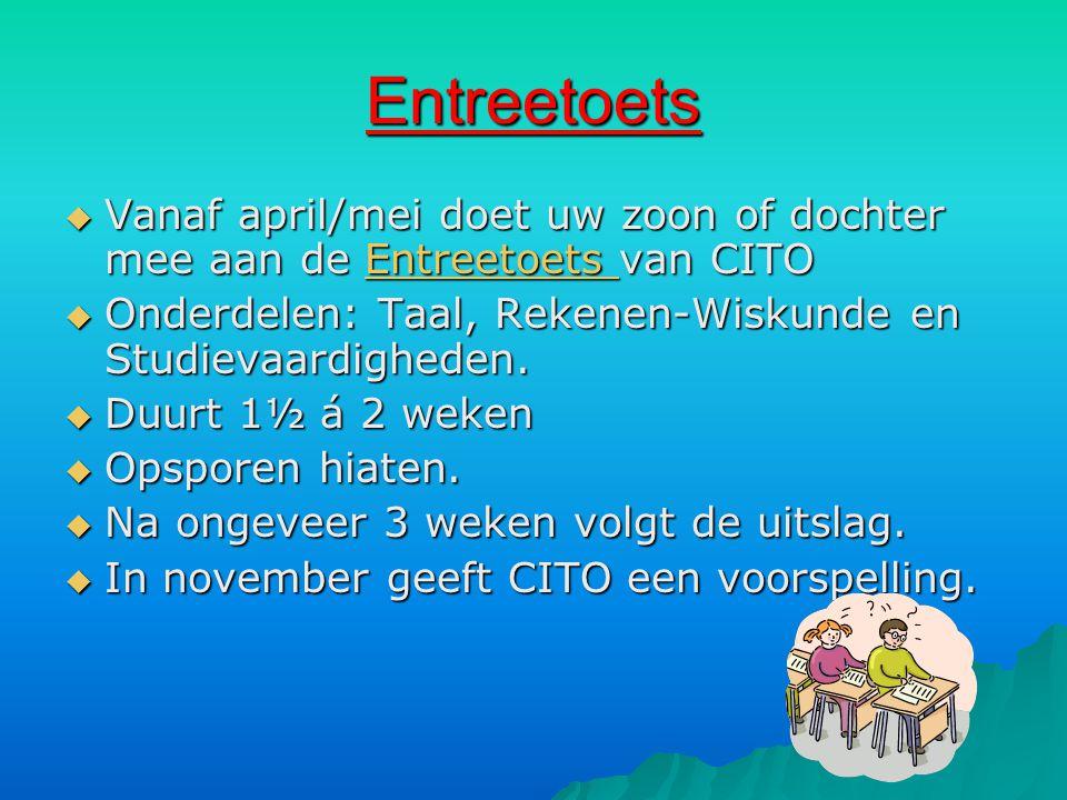 Entreetoets Vanaf april/mei doet uw zoon of dochter mee aan de Entreetoets van CITO. Onderdelen: Taal, Rekenen-Wiskunde en Studievaardigheden.