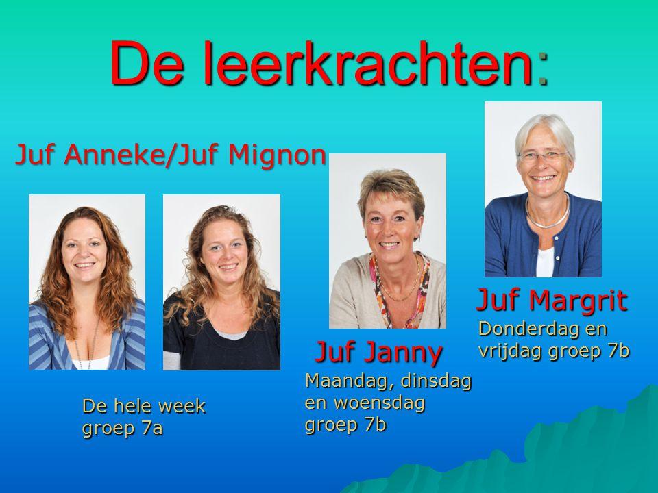 De leerkrachten: Juf Janny Juf Anneke/Juf Mignon Juf Margrit