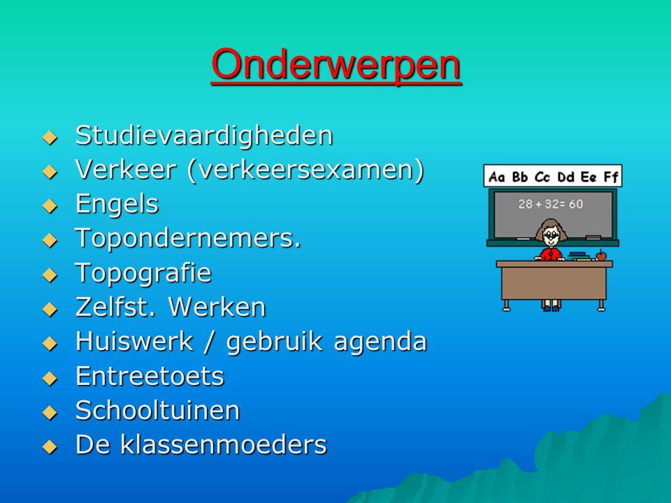 Onderwerpen Studievaardigheden Verkeer (verkeersexamen) Engels