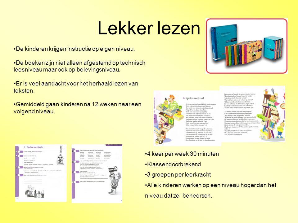 Lekker lezen De kinderen krijgen instructie op eigen niveau.