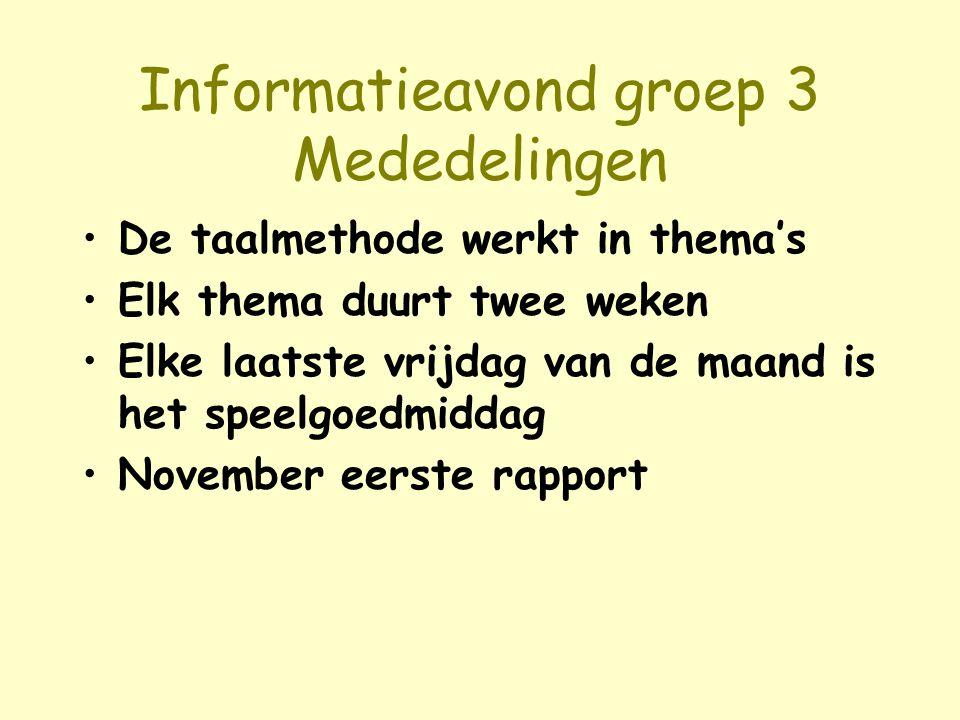 Informatieavond groep 3 Mededelingen